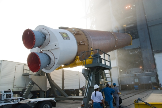 "Actual name of this photo from Wikipedia ""Atlas V First Stage Erection.""  Geez, even I'm uncomfortable."